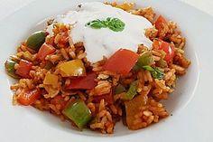 Paprika - Reispfanne mit Joghurtsauce (Rezept mit Bild) | Chefkoch.de