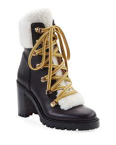 Christian Louboutin OFF!>> Christian Louboutin Yetita Red Sole Hiker Booties with Shearling Collar Leather Ankle Boots, Calf Leather, Christian Louboutin So Kate, Red Sole, Louboutin Shoes, Shoe Boots, Booty, Neiman Marcus, Bergdorf Goodman