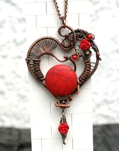 Heart in roses Wire Wrapped Heart Copper Pendant Wire by DorArts