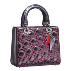 Metallic grey Leather Lady Dior Bag with pink Cannage stitching 839327999382a