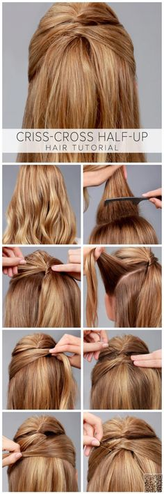 Criss-Cross Half-Up Hair Tutorial - Frisuren Down Hairstyles, Braided Hairstyles, Amazing Hairstyles, Trendy Hairstyles, Summer Hairstyles, Girl Hairstyles, Professional Hairstyles, Short Haircuts, Hairstyles Haircuts