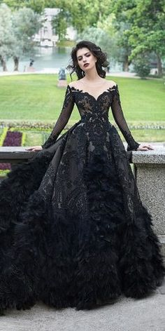 Dark Romance: 24 Gothic Wedding Dresses ★ Mehr sehen: Hochzeitskleid … Dark Romance: 24 Gothic Wedding Dresses ★ See more: Wedding Dress … dress Prom Dresses With Sleeves, Ball Dresses, Dresses Dresses, Black Gown With Sleeves, Dresses Online, Casual Dresses, Couture Dresses, Mermaid Wedding Dress With Sleeves, Bridesmaid Dresses