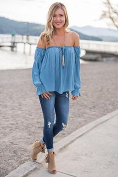 Sweetest Tune Off the Shoulder Double Cinched Sleeve Top (Chambray)