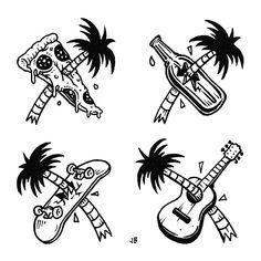 Instagram media jamiebrowneart - A few of my favourite things  #jamiebrowneart #favourites #palmtrees #pizza #beer #skateboard #guitar #doodling #coolvibes #slice #bottle #board #axe #fronds #needs #lurking #staychill #jb