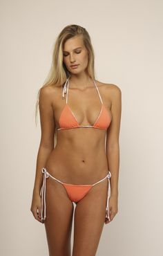 INDAH Tom Bikini Top in Poppy/Coral - Reversible
