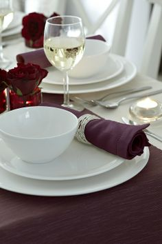 Create the perfect mood for dinner... accessories dyed using Burlesque Red Machine Dye from DYLON.