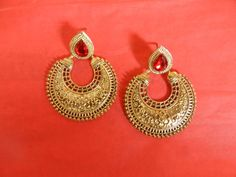 Indian Ethnic Earrings Copper Jewelry Stylish Traditional Red Polki Stone #RK