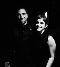 Rob and Emma Watson backstage at the 75th Golden Globes