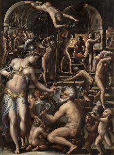 La Forge de Vulcain, par Giorgio Vasari – Musée des Offices de Florence