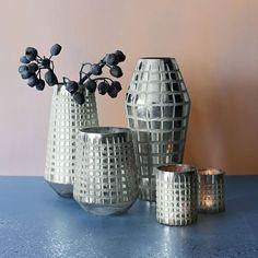 Mercury Grid Vase, Silver, Small Cylinder