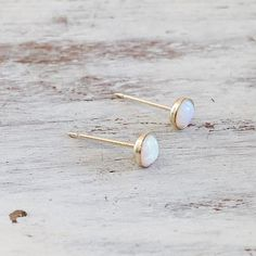 Tiny Opal stud earrings. Gold filled stud earrings with 4 mm opal stone. Dainty and delicate earrings. Perfect for gift ideas