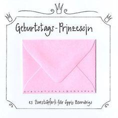 Geburtstagskarte mit kleinem Kuvert. Prinzessin-Geburtstagskarte mit Krone und Glitzer