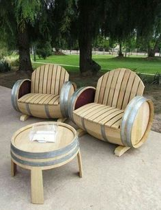 So cool! Patio furniture made from wine barrels