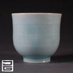 Porcelain Yunomi (tea cup) with Blue Celadon Glaze