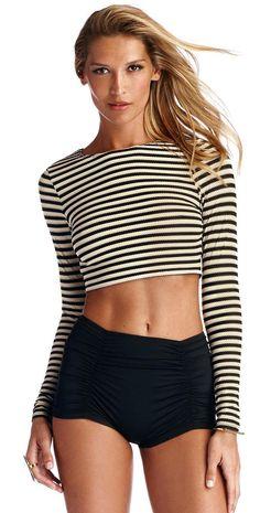 Vitamin A 2014 Bardot Stripe Rashguard | South Beach Swimsuits
