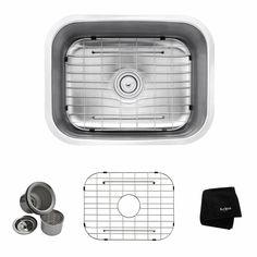 Kraus Premier Kitchen Sink 17.5-in x 23-in Single-Basin Stainless Steel Undermount Residential Kitchen Sink