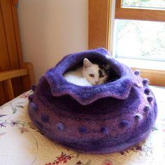 custom order felted wool cat cave bed. $128.00, via Etsy.