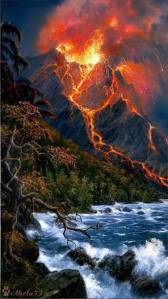 (gif) Watching the Volcano spew the red hot lava out with such awesome force is astonishing and unfathomable. Volcan Eruption, Beautiful World, Beautiful Places, Amazing Places, Cool Pictures, Beautiful Pictures, Gif Pictures, Natural Phenomena, Science And Nature