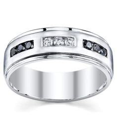 10K White Gold Men's Diamond Wedding Band from @Robin Page Shrodr Brothers