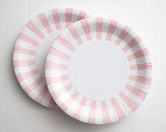 Light Pink and White Striped Paper Plates
