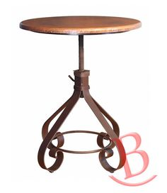 """Rustic Aaron Copper Top, 34-40"""" Adjustable Height Iron Base Western Style…"""