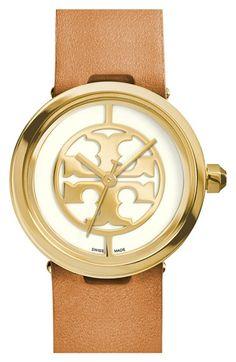 Women's Tory Burch 'Reva' Logo Dial Leather Strap Watch