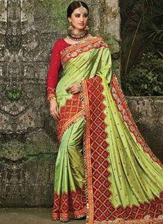 Parrot Green Embroidery Booti Work Silk Designer Fancy Wedding Sarees http://www.angelnx.com/Sarees/Wedding-Sarees