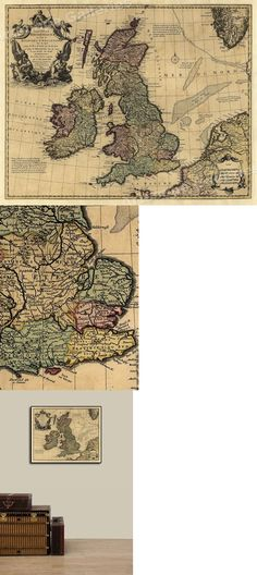 24x32 Wales Great Britain 1580's Vintage Style English Map