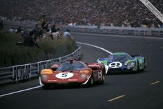 Jacky Ickx, in a Ferrari, tries to shake the Hippie Porsche 917L, Le Mans 1970