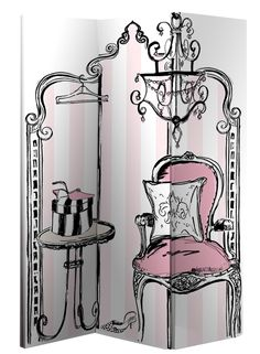 In The Boudoir Room DividerThis elegant room divider is designed for the ladies who like a bit of class. The In The Boudoir room divider features:Beautiful design canvas panelled, folding divide