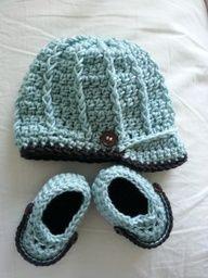 Newborn Baby Boy Crochet Hat  Booties Set