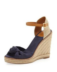 Macy+Linen+Espadrille+Wedge,+Bright+Navy+by+Tory+Burch+at+Neiman+Marcus.