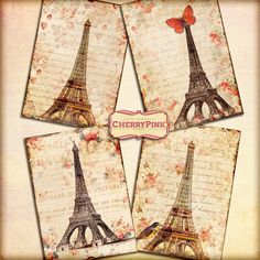 PARIS Digital Collage Sheet digital paper by CherryPinkPrints