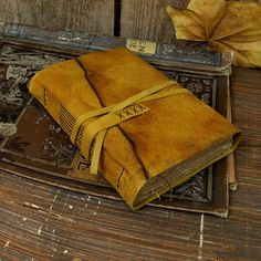 Leather Journal Antiqued Yellow Leather with Tea by TeoStudio
