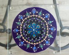 Nice key chain mandala dot art Dotilism by ARTofPAULINE on Etsy