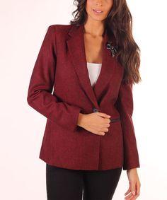Red Tweed Brooch Blazer #zulily #zulilyfinds