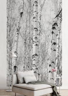 Black and White Wallpaper with Birch-trees Forest Wall Mural | Etsy Beige Wallpaper, Black And White Wallpaper, Animal Wallpaper, Tree Forest, Watercolor Rose, Floral Wall, Peel And Stick Wallpaper, Decorating Your Home, Wall Murals