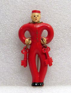 Vintage RARE 1940's Red Bellhop Celluloid Figural Pin Brooch