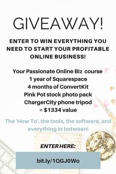 Start Your Dream Online Business (from scratch) Giveaway: Your Passionate Online Biz Course, ConvertKit (4 months!), and more