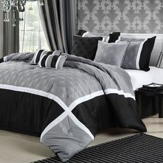 Chic Home Quincy 8-Piece Comforter Set In Black & Silver - Beyond the Rack