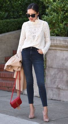 trendy office look   lace blouse + blazer + red bag + skinny jeans + heels