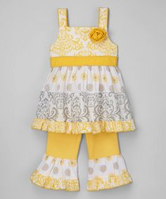 Look at this Yellow Damask Ruffle Dress & Pants - Infant, Toddler & Girls on #zulily today!