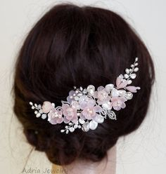 Blush Pink Headpiece, Wedding Hair Accessories, Flower Bridal Hair Combs, Pink Bridal Combs, Large Wedding Headpieces for Brides T1602051