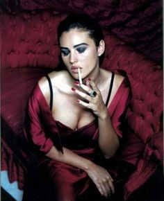 Girl Smoking Red Dress