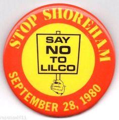 STOP SHOREHAM - NUCLEAR POWER PLANT Long Island,NY 1980 Anti-Nuke protest Button