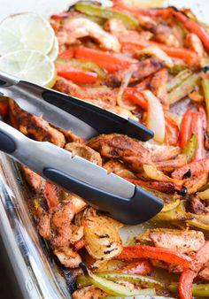 Oven Roasted Chicken Fajitas by rachelschultz #Chicken_Fajitas #Easy #Healthy