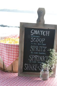 Snatch, scoop, spritz, sprinkle and shake! A great sign to decorate your #popcorn bar. #DIY