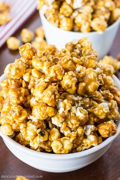 Oven Baked Caramel Corn; 16 cups Popped Popcorn (3 microwave popcorn bags). 3 c chopped walnuts or pecans. 1/2 c (1 stick) butter. 1 c brown sugar, packed. 1/2 c light corn syrup. 1 tsp vanilla extract. 1 tsp butter extract.