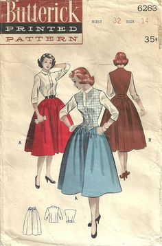 Vintage Fifties Sewing Pattern from Butterick 6263 Skirt Blouse Vest Size 14