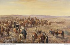 groups of troopers and arabian soldiers with rifles riding horses with thousands of prisoners in the background Military Art, Military History, Royal Engineers, Military Operations, Prisoners Of War, Rare Photos, World War I, Types Of Art